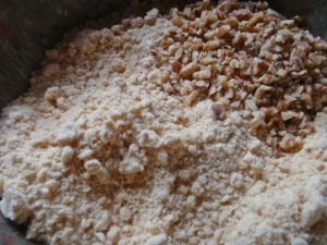 Creamed butter,sugar, flour,nuts.