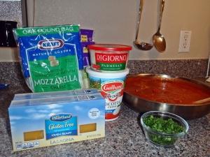 Mozzarella, Parmesan, Ricotta, Sauce, Parsley, GF Lasagna Noodles