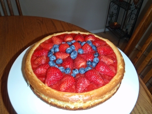 Cheesecake, Connie Cockrell, Strawberry Glaze, Strawberries, Blueberries