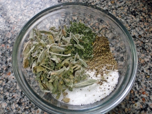 Salt, Pepper, Dried Thyme, Dried Sage Mix by Connie Cockrell