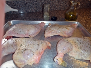 Chicken oiled, sprinkled with herb mix and ready for the grill by Connie Cockrel