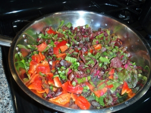 Saute, Swiss Chard, Red Pepper, Green Onion
